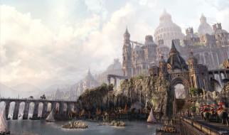 дорога, будни, город, фентези, замок, арт, день