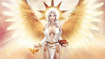 обои для рабочего стола 1920x1080 фэнтези, ангелы, девушка, крылья, книга, взгляд, фон, нимб