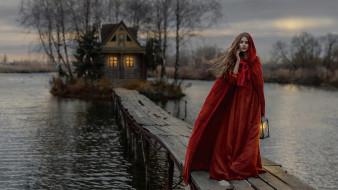 девушки, -unsort , брюнетки,  шатенки, дом, озеро, мостик