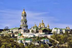 киев, города, - православные церкви,  монастыри, киево-печерская, лавра, фото, с, набережной, старый, город