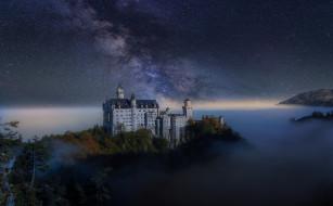 города, замки германии, замок, германия, ночь, звезды, осень, небо, млечный, путь, туман
