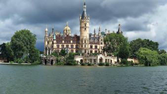 города, замок шверин , германия, castle, schwerin