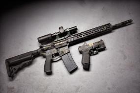 пистолет, оружие, glock, оптика, штурмовая винтовка