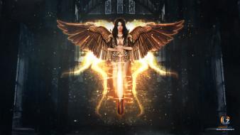 фэнтези, ангелы, брюнетка, меч, ангел, крылья, оружие, фентези, девушка