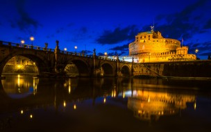 города, рим,  ватикан , италия, небо, река, тибр, замок, святого, ангела, мост, облака