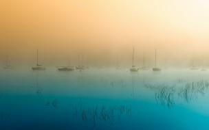 обои для рабочего стола 1920x1200 корабли, Яхты, яхты, суда, утро, туман, рассвет, озеро