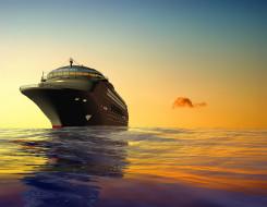 небо, 3D, корабль, море, круизный лайнер