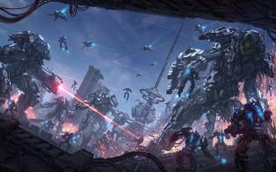 фэнтези, роботы,  киборги,  механизмы, фантастика, война, башня, арт, разрушение, лазер, sci-fi