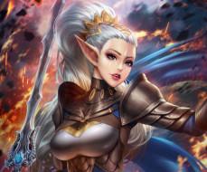 фэнтези, эльфы, эльф, уши, грудь, девушка, меч, волосы, воин, красота, adalia