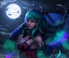 фэнтези, вампиры, красота, крылья, evelyn, волосы, луна, ночь, девушка, платье, вампир, полнолуние, арт