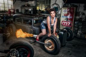 автомобили, -авто с девушками, pinup, hot, rod