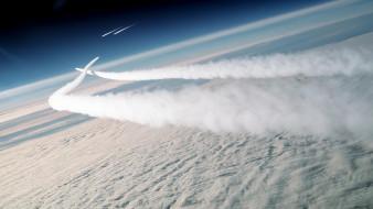 самолеты, следы, пилотаж, облака, небо, полет