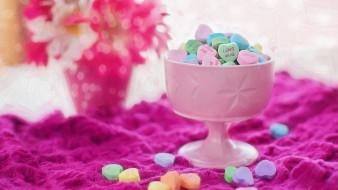 еда, конфеты,  шоколад,  сладости, ваза, сердечки