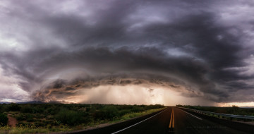 тучи, небо, шторм, облака, дорога