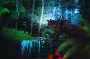 рисованное, животные,  сказочные,  мифические, природа, лес, фэнтези, by, fiirewolf, волк