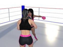 3д графика, спорт , sport, бокс, фон, взгляд, девушки