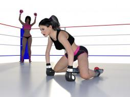 3д графика, спорт , sport, фон, взгляд, девушки, бокс