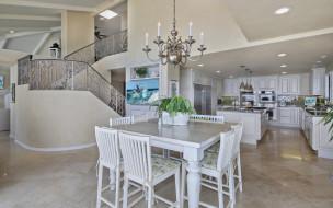 интерьер, кухня, люстра, дизайн, стол, стулья