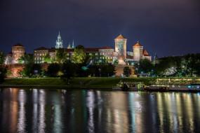 города, - огни ночного города, отражение, река, здания, ночь, огни