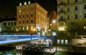 словения, города, - огни ночного города, бар, мужчина, мост, ночь, здания