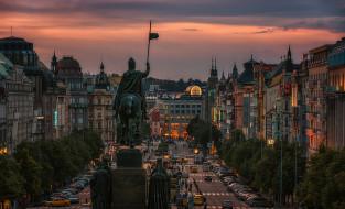 прага, города, - исторические,  архитектурные памятники, здания, закат, скульптура, площадь