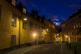 стокгольм, города, - огни ночного города, фонари, здания