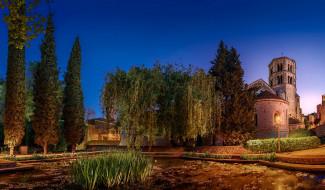 города, - дворцы,  замки,  крепости, деревья, пруд, ночь, фонарь