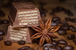 еда, конфеты,  шоколад,  сладости, корица, кофе, шоколад, вафли