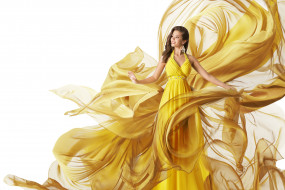 желтое, улыбка, ткань, девушка, прическа, платье, белый фон, брюнетка