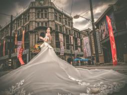 улица, свадебное платье, Китай, город, модель, стиль, невеста, азиатка