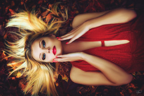 блондинка, лицо, макияж, листья, взгляд, лежит, руки, в красном, осень, платье, девушка, на земле, прическа