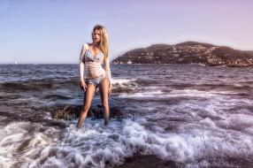 девушки, -unsort , блондинки, море, волны, побережье