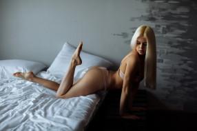 девушки, -unsort , блондинки, подушка, кровать