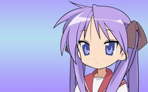 аниме, lucky star, девушка, взгляд, фон