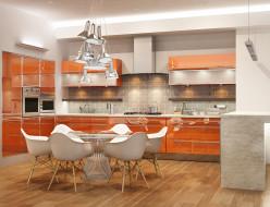 интерьер, кухня, плита, стулья, стол