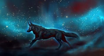 волки, животные, космос, рисунки, фантастика, широкоформатные