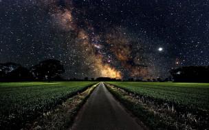 дорога, ночь, небо, звездное, проселочная, поле