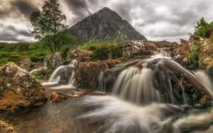 камни, Шотландия, поток, пейзаж, река, дерево, гора