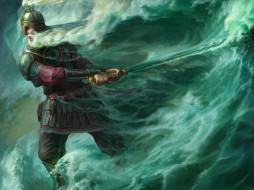 фэнтези, люди, сказка, черномор, лукоморье, арт, меч, волны, море