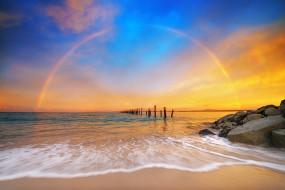 природа, побережье, радуга, old, pier, beach, tasmania, бридпорт, море, тасмания, австралия, небо, bridport, anderson, bay, камни, australia