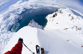 лыжник, снег, вода, лыжи, спуск, лед