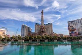 дома, Эйфелева башня, деревья, Лас-Вегас, Nevada, здания, Las Vegas, небо, пруд, облака, США