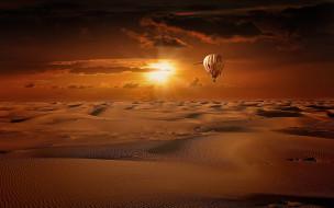 воздушный шар, барханы, пустыня, восход, песок, небо, облака, солнце