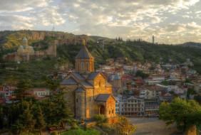 tbilisi sunset, города, тбилиси , грузия, обзор