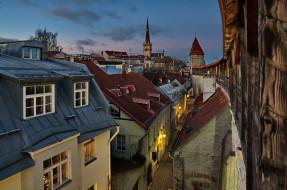 города, таллин , эстония, крыши, узкая, улочка