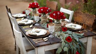 розы, сервировка, приборы, праздник