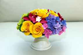 букет, гортензия, розы