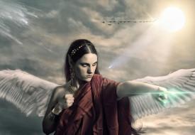 фэнтези, фотоарт, девушка, фон, взгляд, крылья, эльф