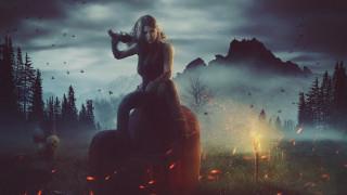 фэнтези, девушки, оружие, огонь, трава, череп