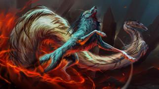 фэнтези, существа, широкоформатные, рисунки, огонь, животные, драконы, волки